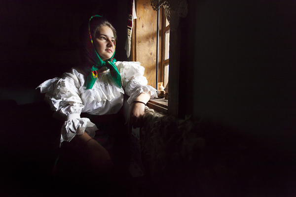 Portraits of girls from Maramures region in Romania