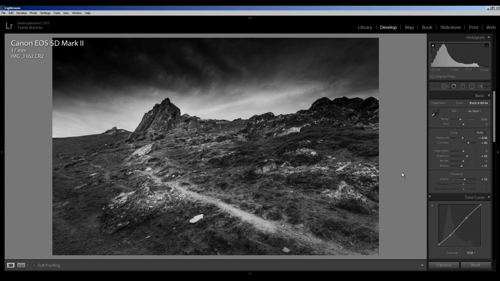 Dramatic black and white conversion of a landscape photo in Lightroom CC
